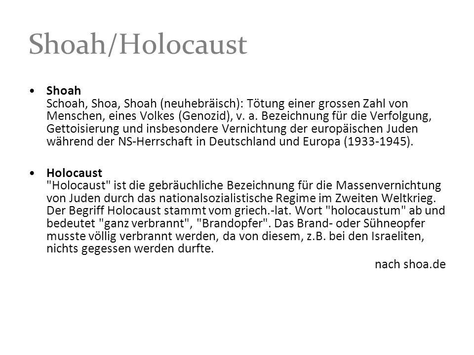 Shoah/Holocaust