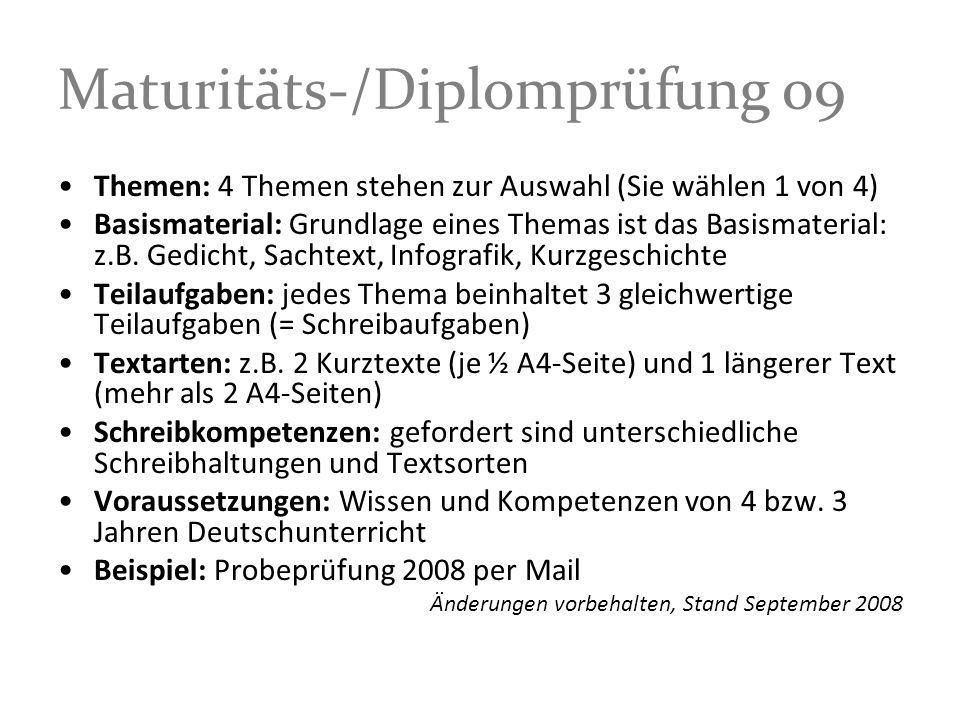 Maturitäts-/Diplomprüfung 09
