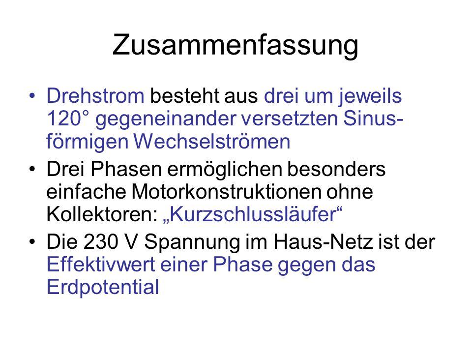 Zusammenfassung Drehstrom besteht aus drei um jeweils 120° gegeneinander versetzten Sinus-förmigen Wechselströmen.