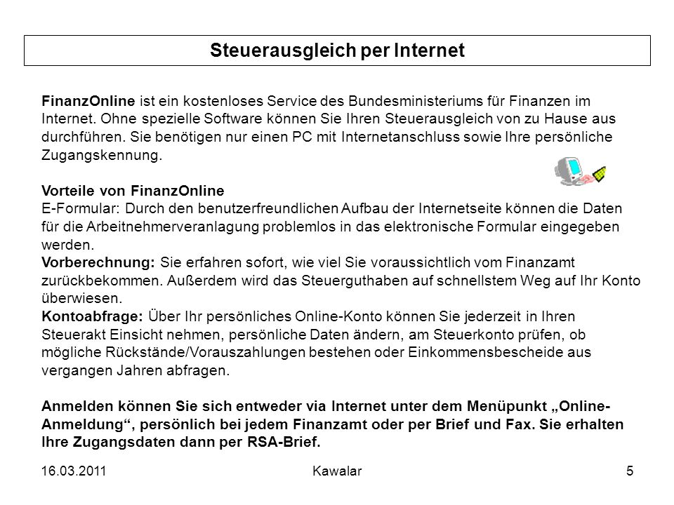 Steuerausgleich per Internet