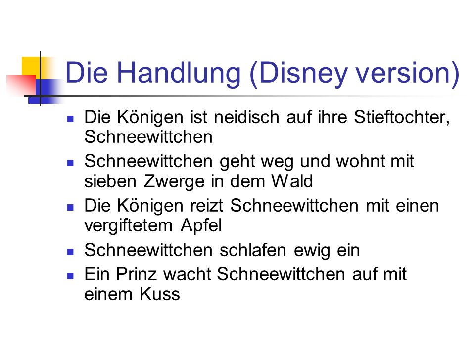 Die Handlung (Disney version)