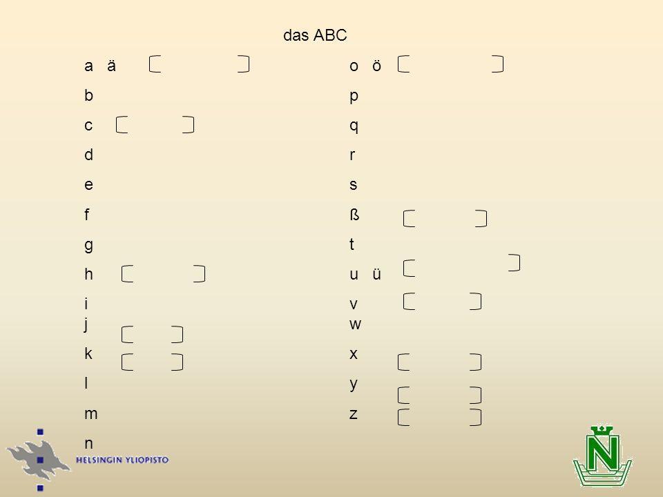 das ABC a ä o ö. b p. c q. d r. e s. f ß. g t. h u ü. i v j w.