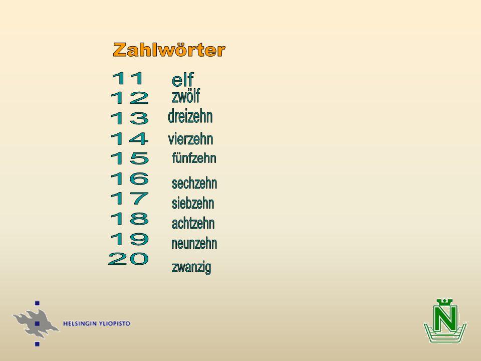 Zahlwörter 11 12 13 14 15 16 17 18 19 20 elf zwölf dreizehn vierzehn