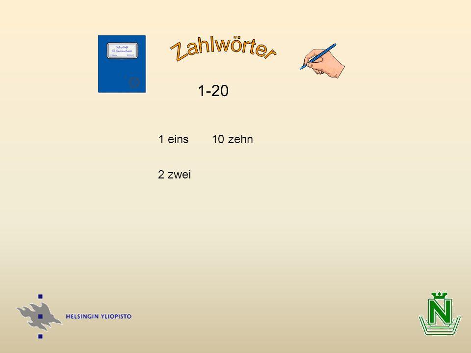 Zahlwörter 1-20 1 eins 10 zehn 2 zwei