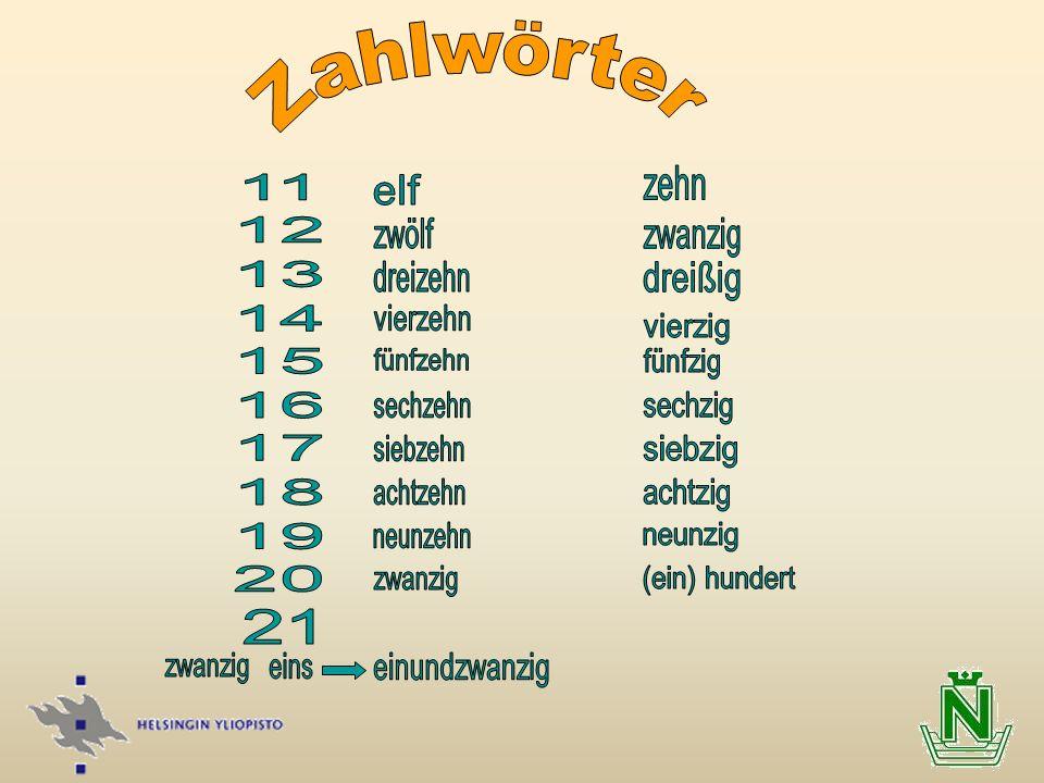 Zahlwörter sechzig siebzig achtzig neunzig (ein) hundert 21 zehn 11 12
