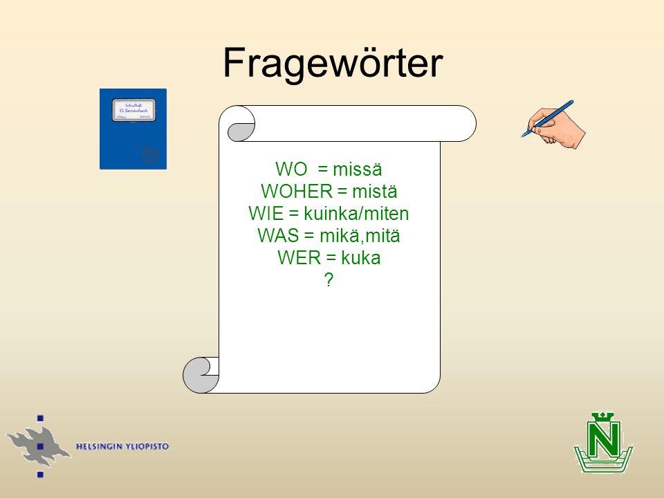 Fragewörter WO = missä WOHER = mistä WIE = kuinka/miten