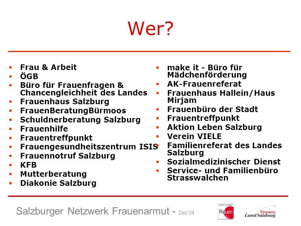 Wer Salzburger Netzwerk Frauenarmut - Dez.04 Frau & Arbeit ÖGB