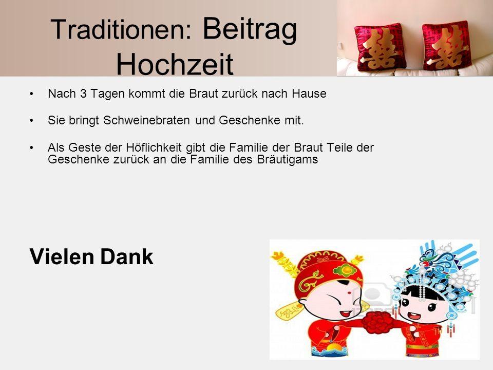 Traditionen: Beitrag Hochzeit