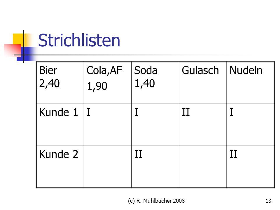 Strichlisten Bier 2,40 Cola,AF 1,90 Soda 1,40 Gulasch Nudeln Kunde 1 I