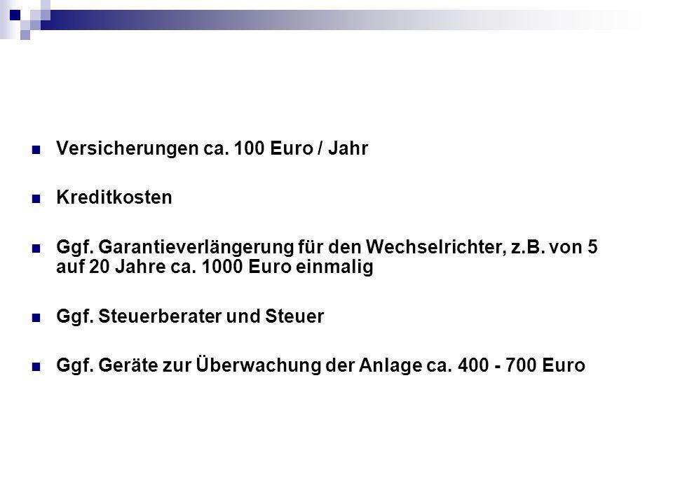 Versicherungen ca. 100 Euro / Jahr