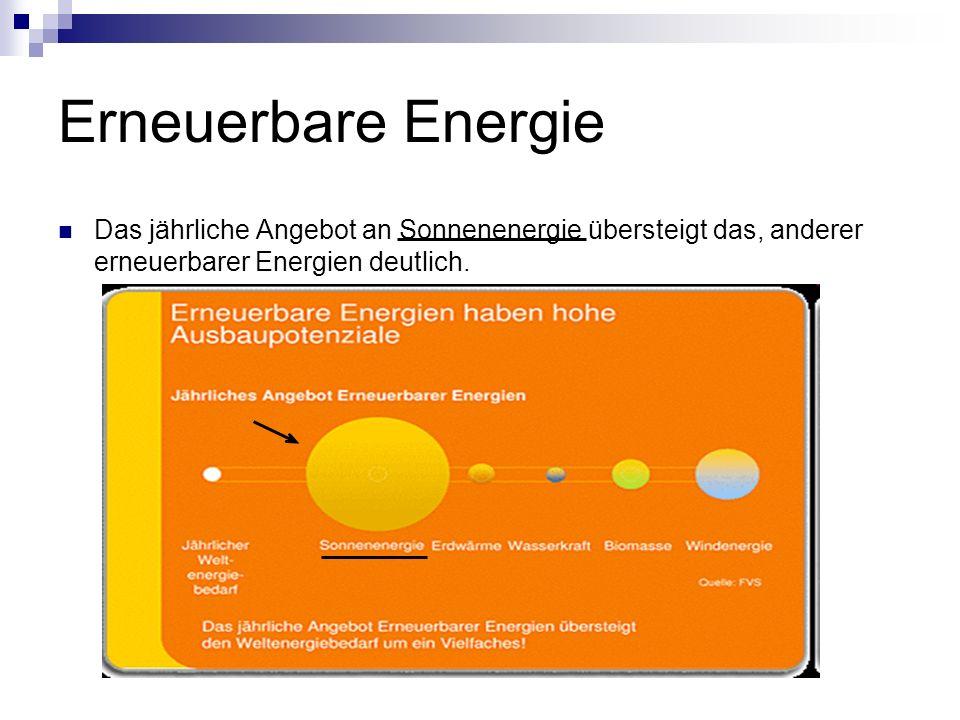 Erneuerbare Energie Das jährliche Angebot an Sonnenenergie übersteigt das, anderer erneuerbarer Energien deutlich.