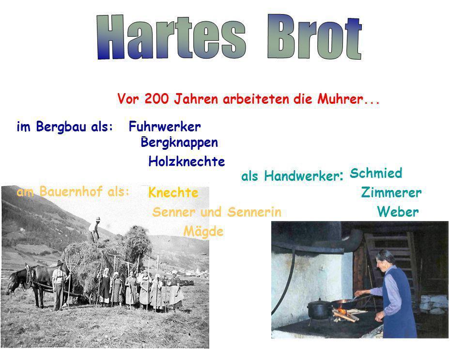 Hartes Brot Vor 200 Jahren arbeiteten die Muhrer... im Bergbau als: