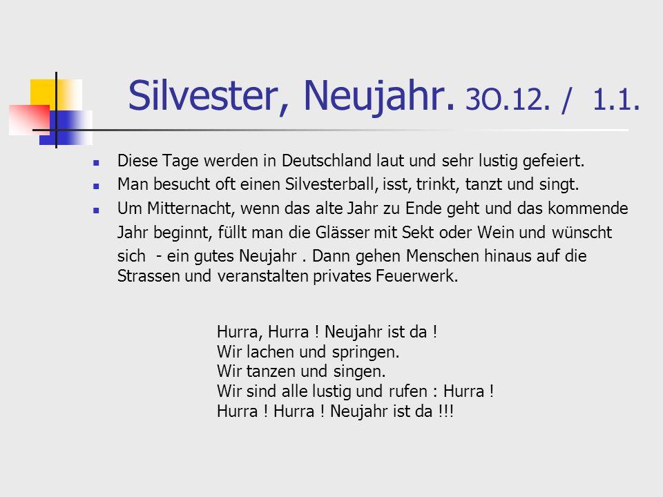 Silvester, Neujahr. 3O.12. / 1.1. Diese Tage werden in Deutschland laut und sehr lustig gefeiert.