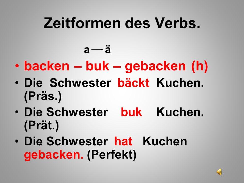 Zeitformen des Verbs. backen – buk – gebacken (h)