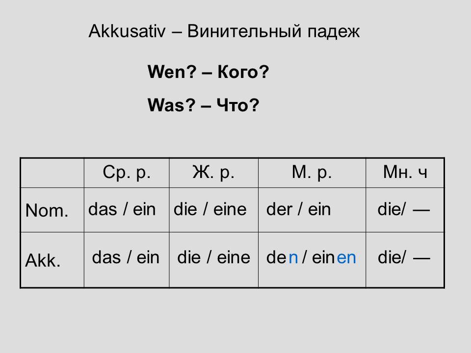 Akkusativ – Винительный падеж