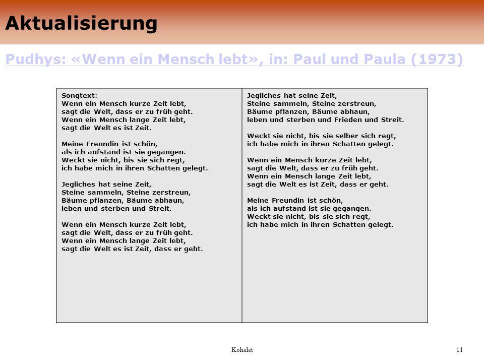 Aktualisierung Pudhys: «Wenn ein Mensch lebt», in: Paul und Paula (1973)