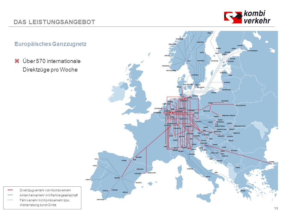 DAS LEISTUNGSANGEBOT Europäisches Ganzzugnetz Über 570 internationale