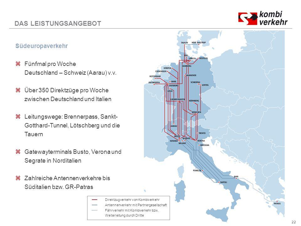 DAS LEISTUNGSANGEBOT Südeuropaverkehr Fünfmal pro Woche