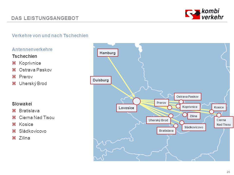 DAS LEISTUNGSANGEBOT Verkehre von und nach Tschechien Antennenverkehre