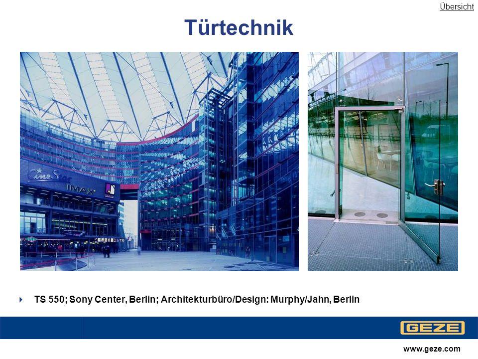 Übersicht Türtechnik. Tonwertkorrektur. TS 550; Sony Center, Berlin; Architekturbüro/Design: Murphy/Jahn, Berlin.