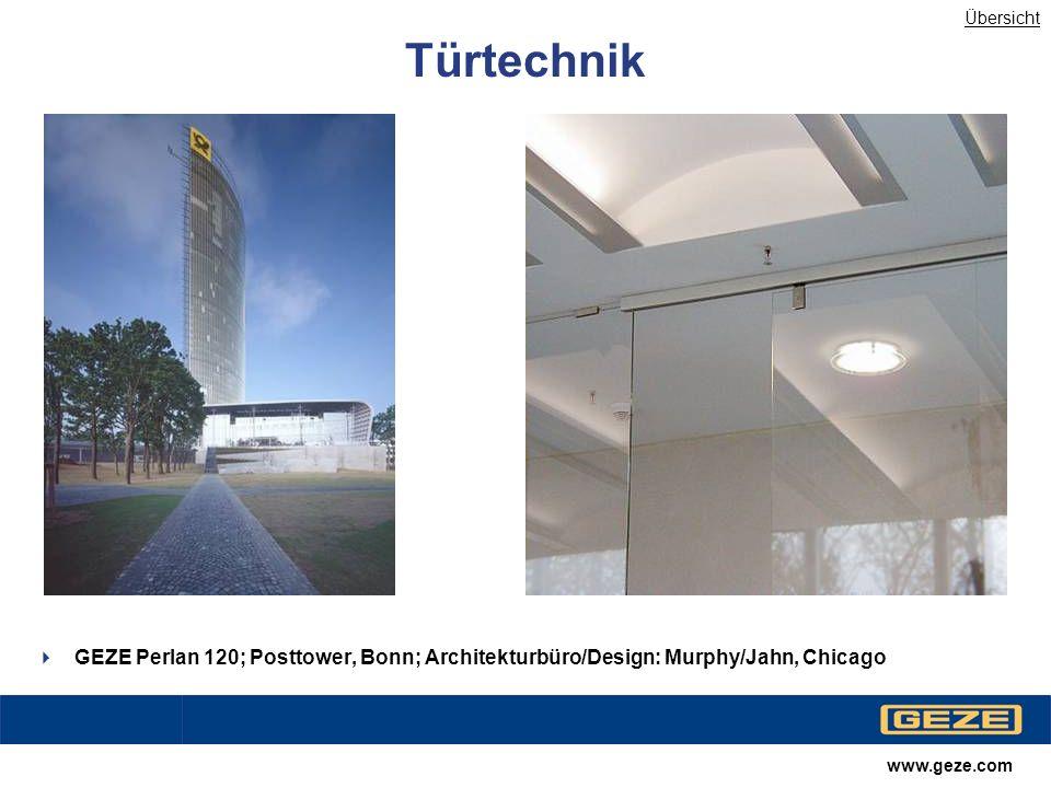 Übersicht Türtechnik. Farblich angleichen. GEZE Perlan 120; Posttower, Bonn; Architekturbüro/Design: Murphy/Jahn, Chicago.