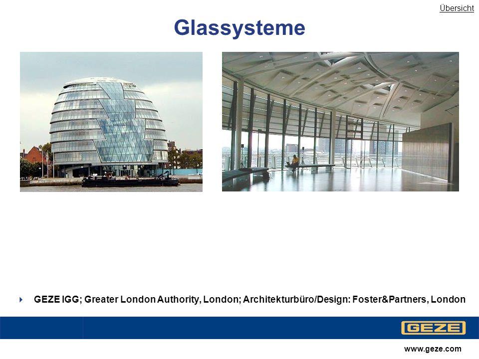 Übersicht Glassysteme. GEZE IGG; Greater London Authority, London; Architekturbüro/Design: Foster&Partners, London.