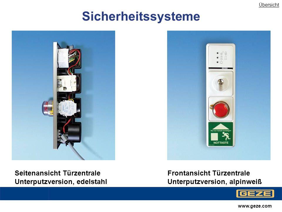 Übersicht Sicherheitssysteme. Seitenansicht Türzentrale Unterputzversion, edelstahl. Frontansicht Türzentrale Unterputzversion, alpinweiß.