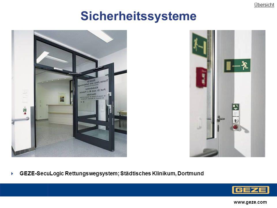 Übersicht Sicherheitssysteme. GEZE-SecuLogic Rettungswegsystem; Städtisches Klinikum, Dortmund.