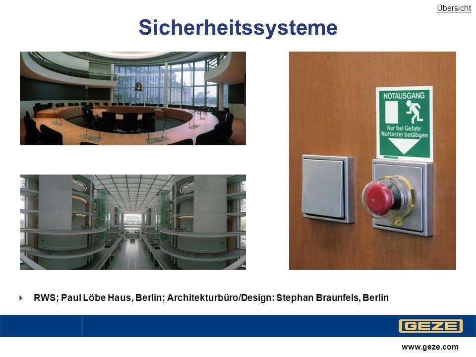 Übersicht Sicherheitssysteme. RWS; Paul Löbe Haus, Berlin; Architekturbüro/Design: Stephan Braunfels, Berlin.