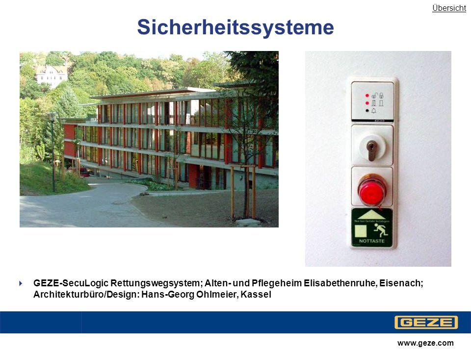 Übersicht Sicherheitssysteme.