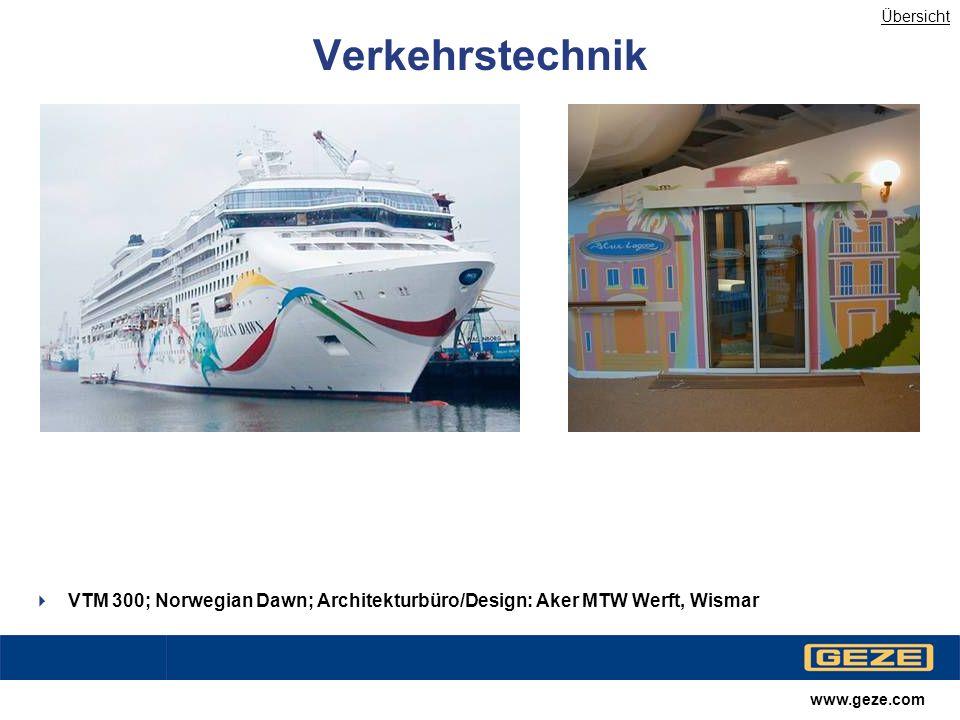 Übersicht Verkehrstechnik. VTM 300; Norwegian Dawn; Architekturbüro/Design: Aker MTW Werft, Wismar.
