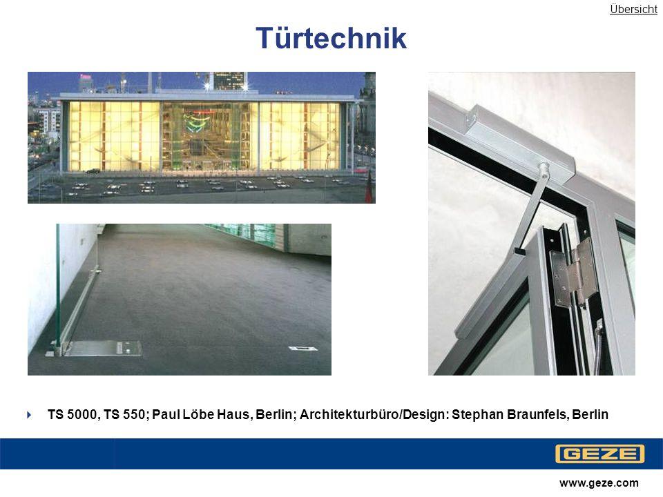 Übersicht Türtechnik. TS 5000, TS 550; Paul Löbe Haus, Berlin; Architekturbüro/Design: Stephan Braunfels, Berlin.
