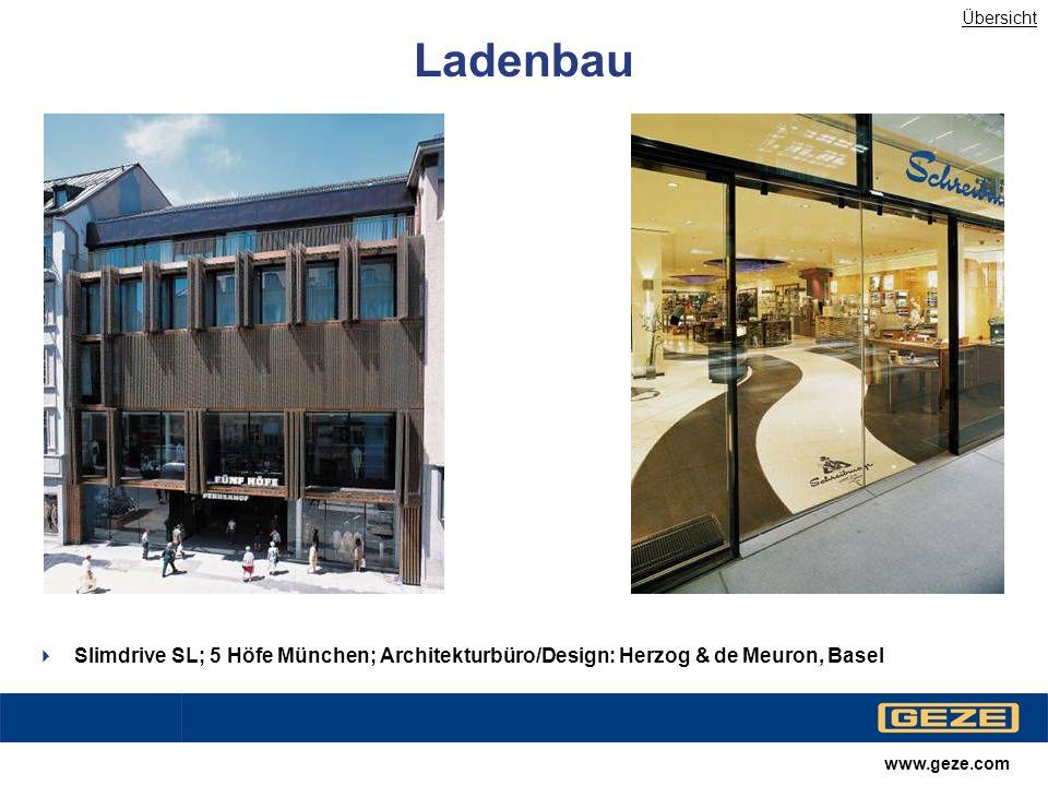 Übersicht Ladenbau. Slimdrive SL; 5 Höfe München; Architekturbüro/Design: Herzog & de Meuron, Basel.