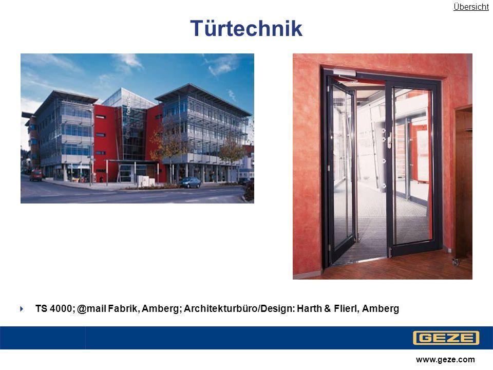 Übersicht Türtechnik. TS 4000; @mail Fabrik, Amberg; Architekturbüro/Design: Harth & Flierl, Amberg.