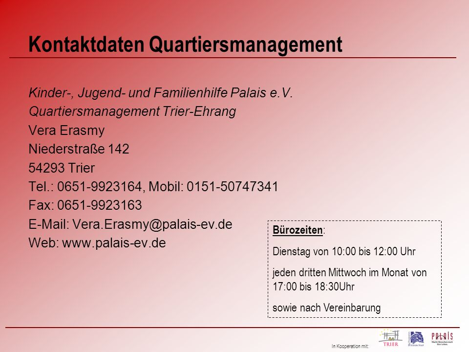 Kontaktdaten Quartiersmanagement