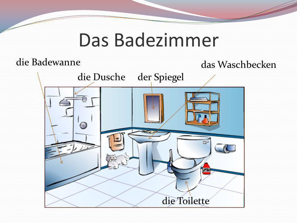 Das Badezimmer die Badewanne das Waschbecken die Dusche der Spiegel