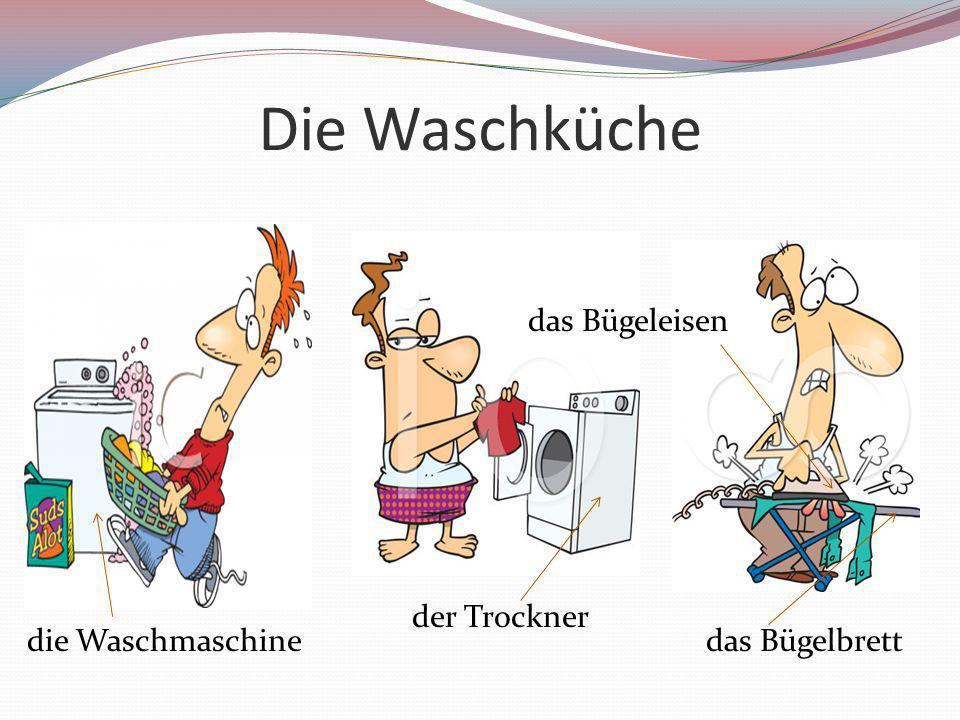 Die Waschküche das Bügeleisen der Trockner die Waschmaschine