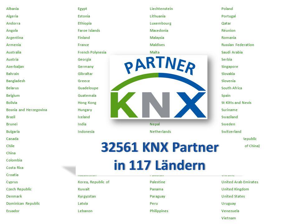 32561 KNX Partner in 117 Ländern Albania Egypt Liechtenstein Poland