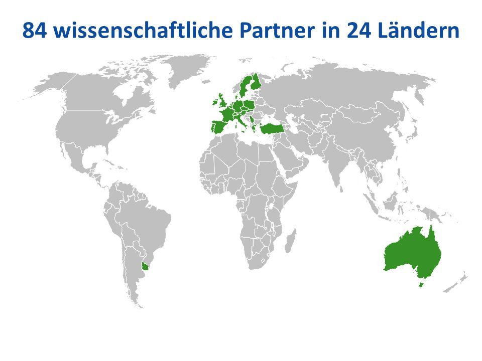 84 wissenschaftliche Partner in 24 Ländern