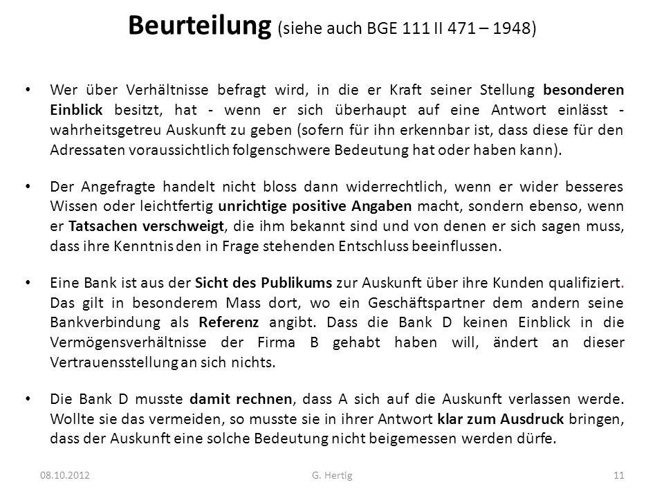 Beurteilung (siehe auch BGE 111 II 471 – 1948)