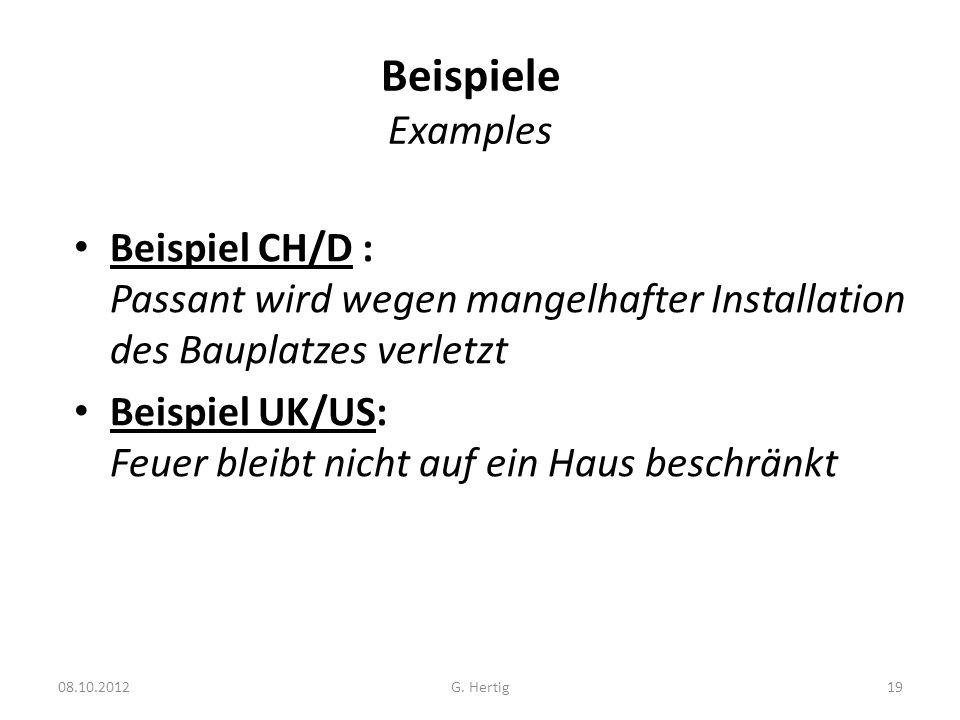Beispiele ExamplesBeispiel CH/D : Passant wird wegen mangelhafter Installation des Bauplatzes verletzt.
