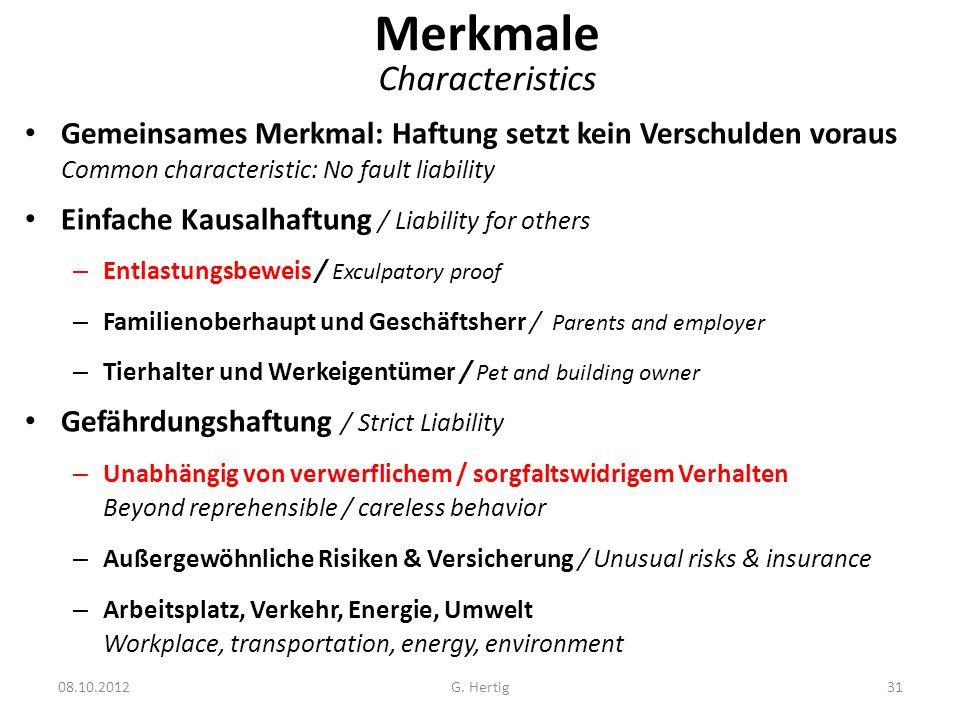 Merkmale Characteristics