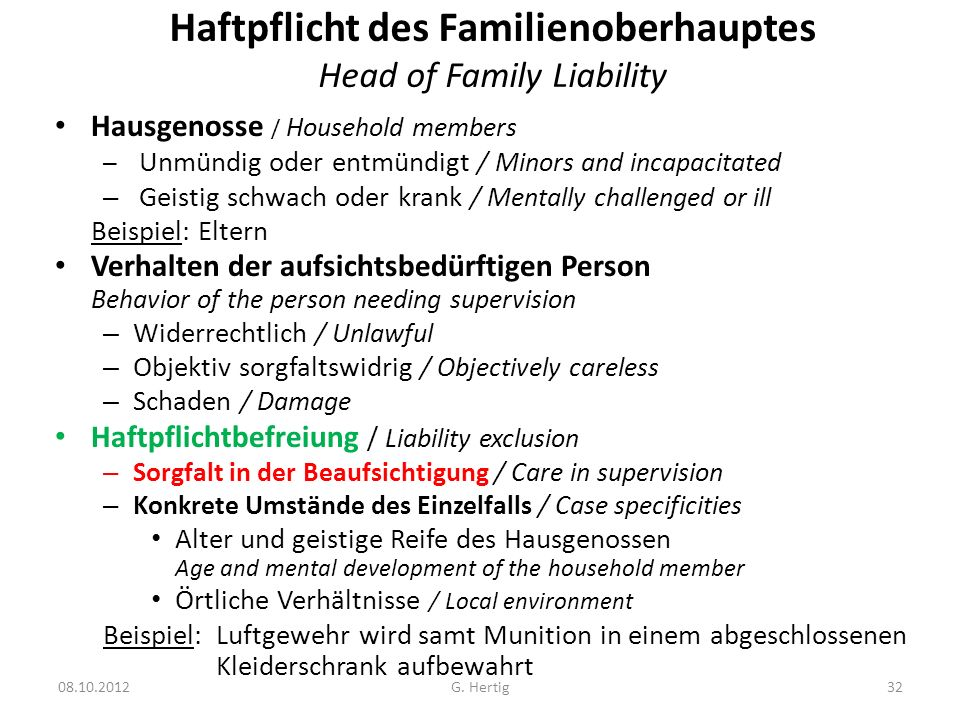 Haftpflicht des Familienoberhauptes Head of Family Liability