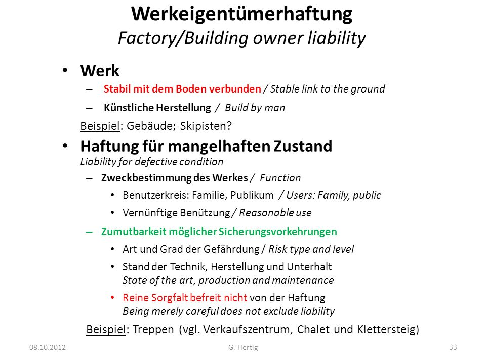 Werkeigentümerhaftung Factory/Building owner liability