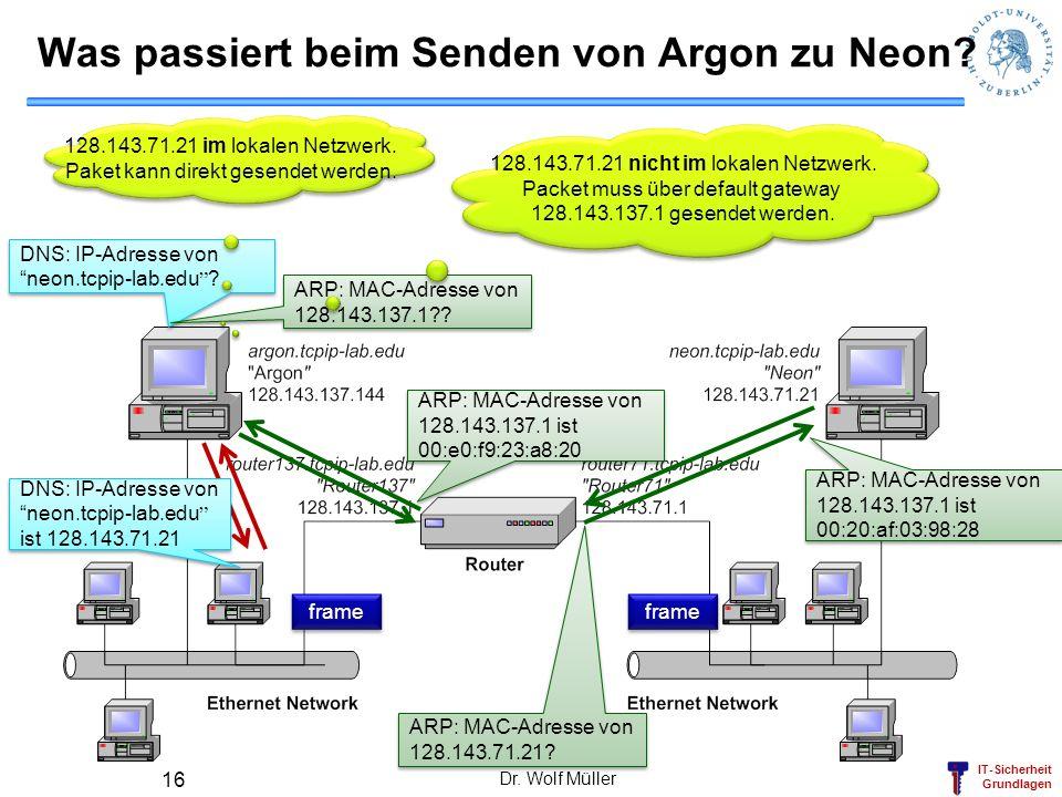Was passiert beim Senden von Argon zu Neon