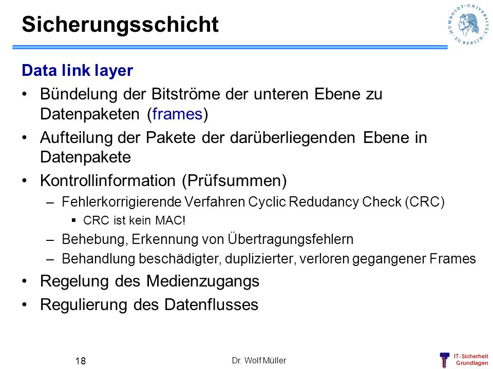Sicherungsschicht Data link layer