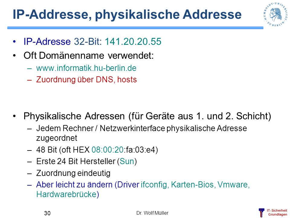 IP-Addresse, physikalische Addresse
