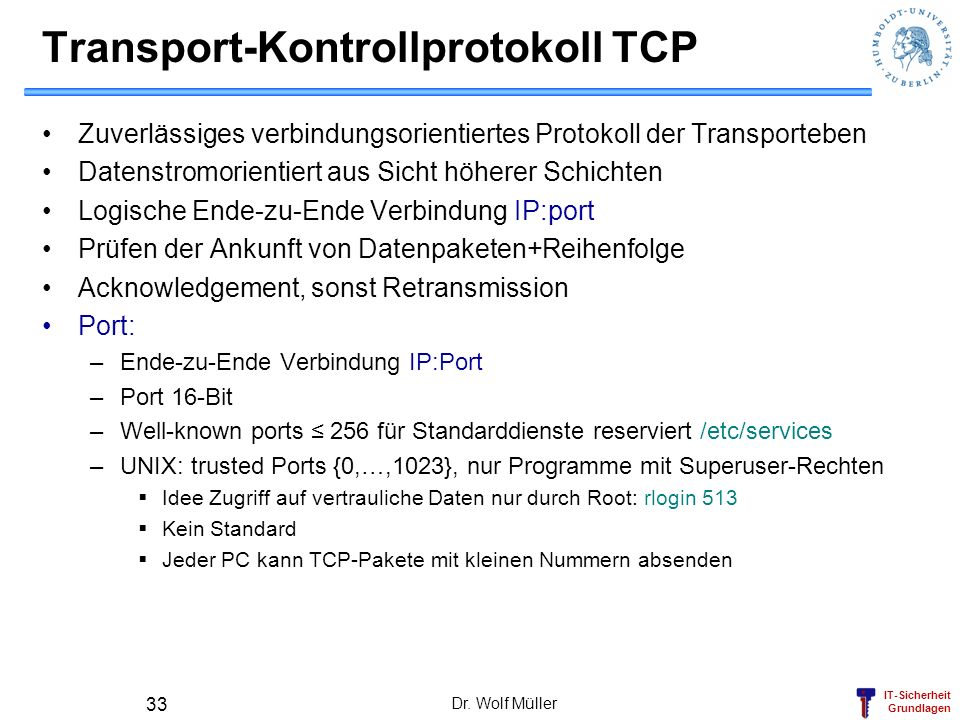 Transport-Kontrollprotokoll TCP