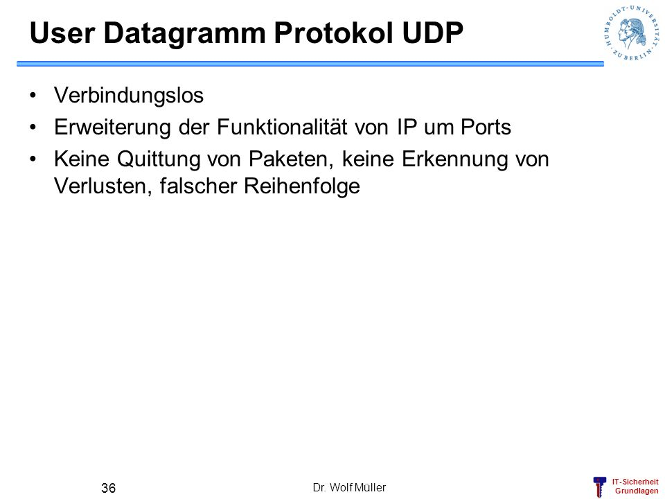 User Datagramm Protokol UDP