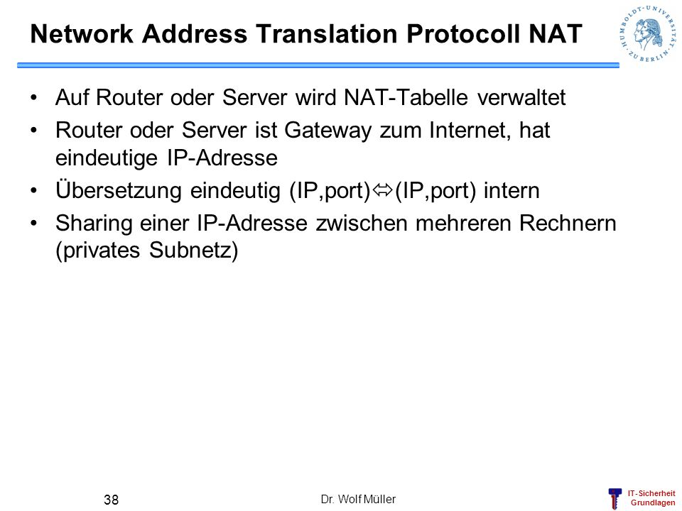 Network Address Translation Protocoll NAT